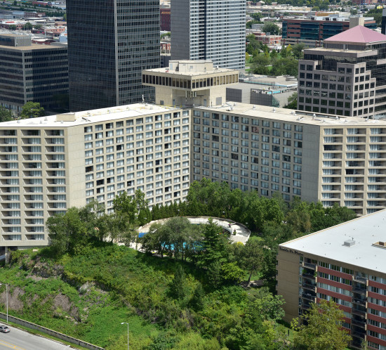 Exterior photo of the Westin from above
